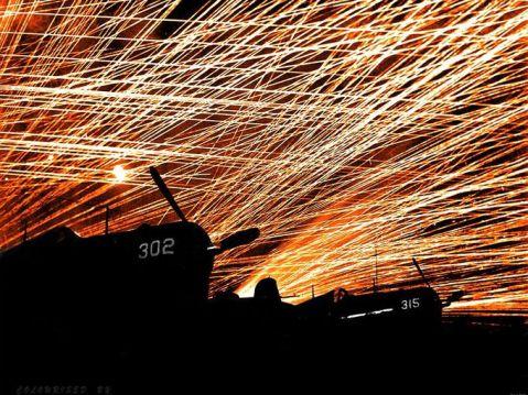 Anti-aircraft Gunfire Lacework of Anti-aircraft