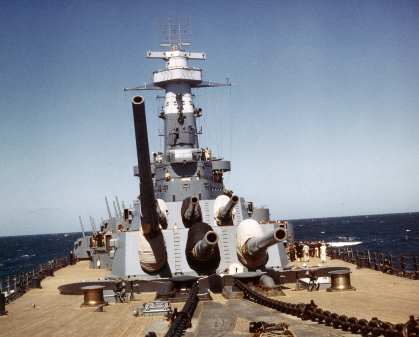 Bow turrets of USS North Carolina BB-55 Note CXAM-1 radar above the main battery director, which dates this photograph as being sometime shortly after 27 August 1941 U.S. Naval Historical Center Photograph # 80-G-K-13971 via Navweaps
