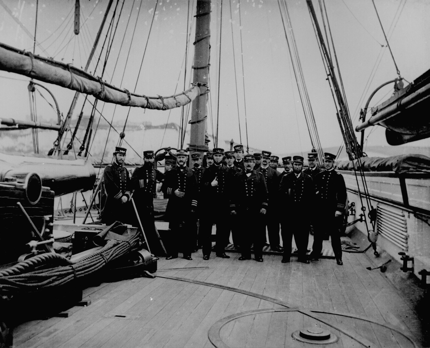 Capt. John A. Winslow (3d from left) and officers on board the U.S.S. Kearsarge after sinking the C.S.S. Alabama, 1864