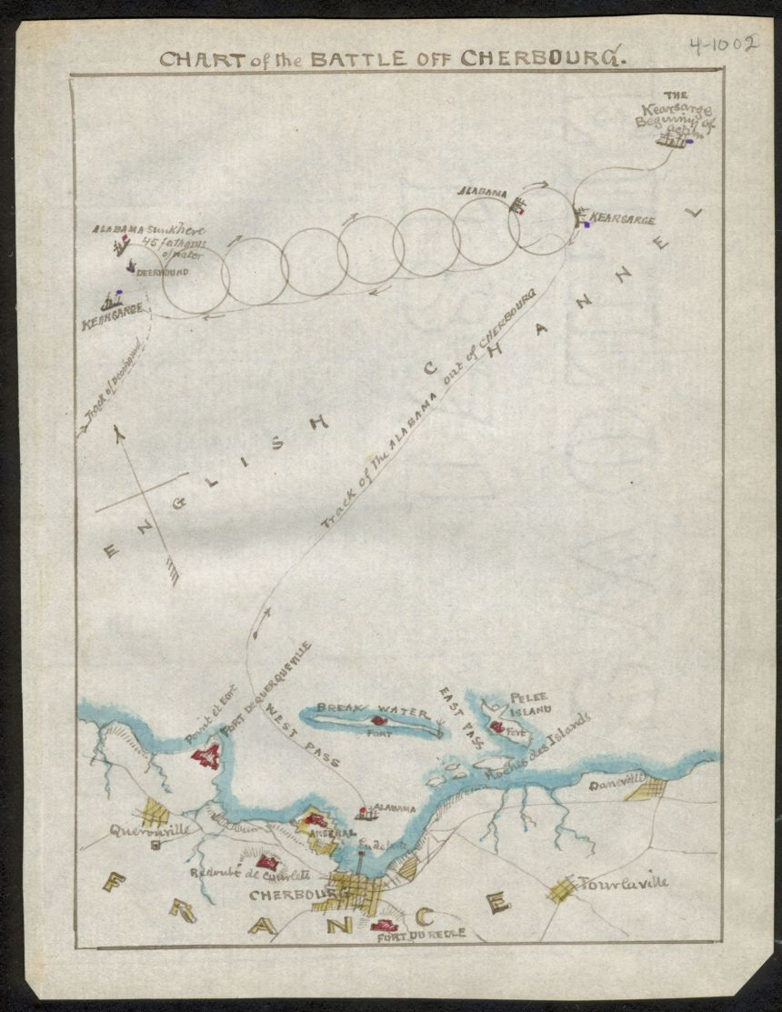 7-circle The Chart of the battle off Cherbourg as recorded by American landscape painter and Union Army map-maker Robert Knox Sneden in the Library of Congress. Sneden was in Andersonville at the time of the battle after being captured by Confederate troops under John S. Mosby in 1863, but produced it from logs and charts from Kearsarge after the war. This chart was lost to history for more than a century until it popped up in 1994 in a bank vault in Connecticut and donated to the Virginia Historical Society. Click to big up