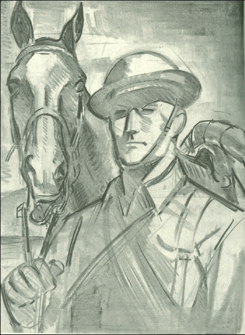 Corporal Butler, 8th Cavalry and his mount, 1941, by Tom Lea. It shows the striker of Maj. Gen. Innis P. Swift's aide, who was a friend of Lea's family.   Swift, http://en.wikipedia.org/wiki/Innis_P._Swift later went on to command I Corps in the Pacific. A colorful character who rode with Pershing chasing Villa in 1916, Swift ordered the depicted horse soldier to ride from Fort Bliss direct to Lea's house so that he could be sketched.