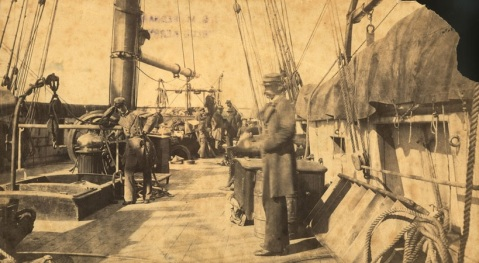 Crewmen on the deck of the Confederate commerce raider CSS Alabama off the coast of Cape Town, South Africa, 1863.