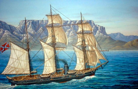 CSS Alabama enters Table Bay at 10:00 AM August 5, 1863. She is increasing speed in order to capture the Sea Bride before she can escape to within one league of S.African territorial waters. This painting commissioned by Ken Sheppard of South Africa. Via the CSS Alabama Assoc