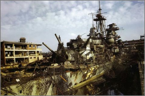 German heavy cruiser Admiral Hipper in dry dock at Kiel, May 19th 1945. Click to big up