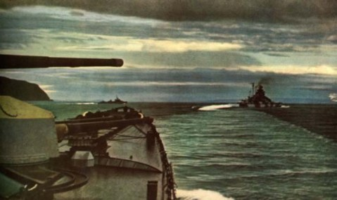 Admiral Hipper's bow with battleship Tirpitz to the right, Norwegian waters 1942