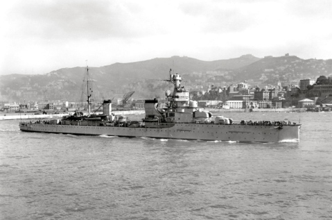The  Regia Marina's Giovanni delle Bande Nere, some 10-times HMS Urge's size, was bushwacked by the hearty British submarine with two torpedos and sent to the bottom on April Fools Day, 1942, breaking in half and taking 381 Italian sailors with her.