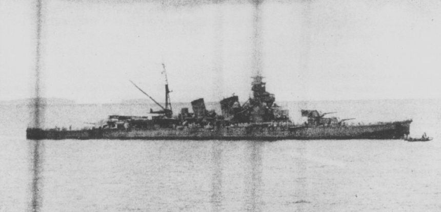 The heavily damaged Japanese cruiser Aoba off Buin, Bougainville on October 13, 1942 after the Battle of Cape Esperance. Photographed from the Japanese cruiser Chokai.