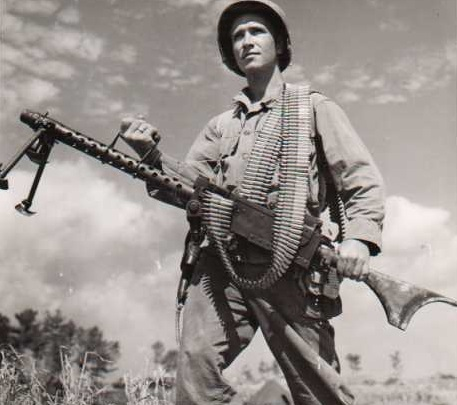 The M1919A6 was 32.5 to 35 pounds depending on setup...but it was better than either the Benet Mercie or the Chauchat