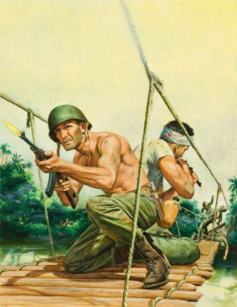 Mort Kunstler. Men in Combat cover. Via Heritage Auctions http://fineart.ha.com/itm/illustration-art/mort-kunstler-american-b-1931-men-in-combat-cover-oil-on-board-22-x-165-in-not-signed/a/7010-87019.s