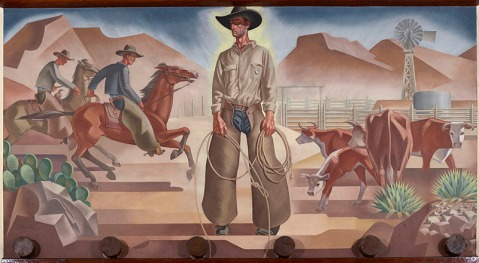 Mural on North Wall, West Texas Room, 1936. Oil on canvas, 7 X 13 feet. Hall of State, Dallas