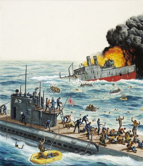 Mort Kunstler, Only 17 Survived the Atrocity Sub, Stag cover, October, 1963. Via Heritage Auctions. http://fineart.ha.com/itm/illustration-art/mort-kunstler-american-b-1931-only-17-survived-the-atrocity-sub-stag-cover-october-1963-gouach/a/7001-87033.s