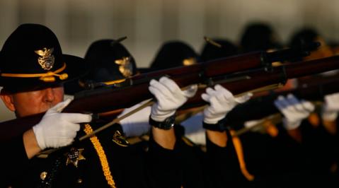 Orange County sheriff honor guard with loaned M1 Garands