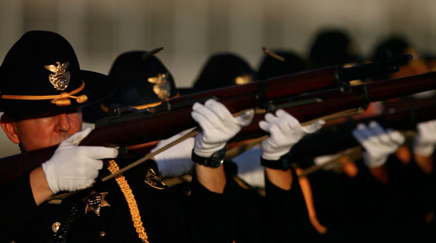 Orange County sheriff honor guard with loaned M1 Garands
