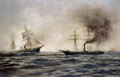 painting by Xanthus Smith, 1922, depicts Alabama sinking, at left, after her fight with Kearsarge (seen at right). NHHC Photo K-29827.