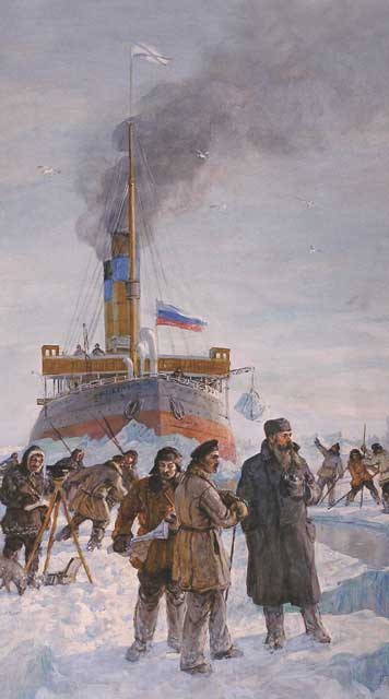 Picture M. G. Platunova First swimming polar icebreaker Ermak, depicting her first encounter with sea ice in 1899