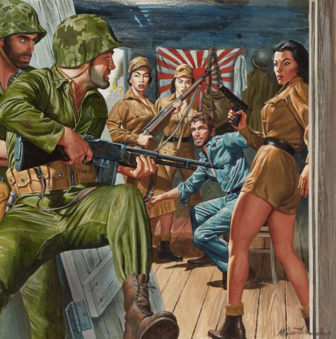 Mort Kunstler. Prisoner, Stag cover, June 1960-- note the great BAR although I don't think those hot-pants are official Imperial issue. Via Heritage Auctions http://fineart.ha.com/itm/illustration-art/mort-kunstler-american-b-1931-prisoner-stag-cover-june-1960-gouache-on-board-15-x-15-in/a/7015-87025.s