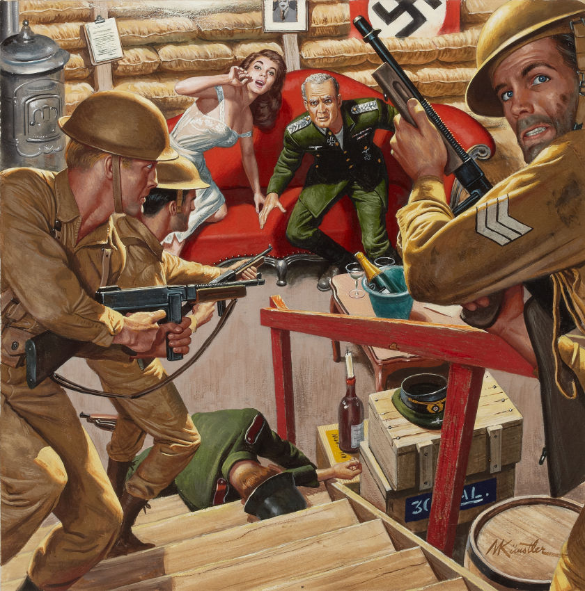 Mort Kunstler. Reckless Commando Raid, Male cover, c. 1958. Via Heritage Auctions. http://fineart.ha.com/itm/illustration-art/mort-kunstler-american-b-1931-reckless-commando-raid-male-cover-c-1958-gouache-on-board-15/a/7015-87013.s