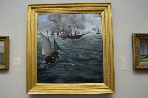 The Battle of the USS Kearsarge and the CSS Alabama By Claude Monet hanging today at the Philadelphia Museum of Art.