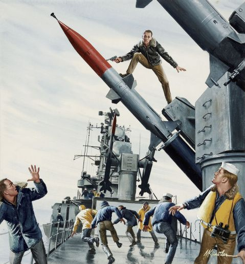 Mort Kunstler, The Bedford Incident, Male cover, September, 1964 (HMS Troubridge),