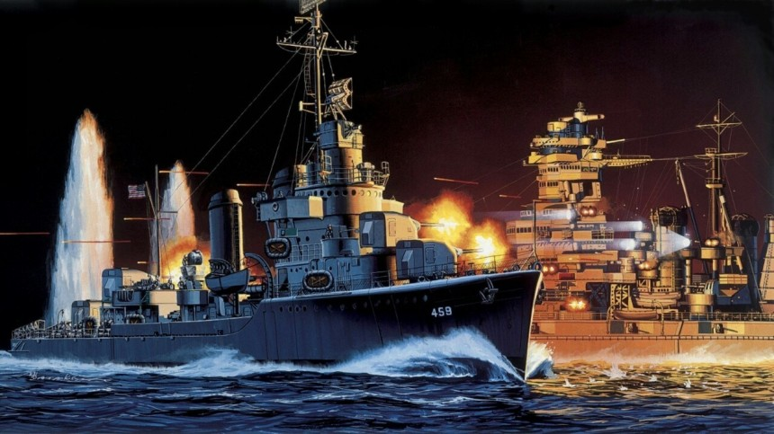The Destroyer That Took on a Battleship by Peter DeForest. Click to bigup.