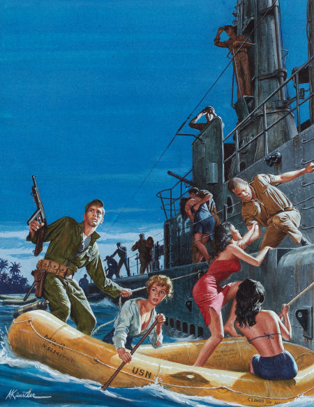 Mort Kunstler. The Marine Who Hid the Pacific's 12 Most Wanted Women, Men Only cover, April 1961. Via Heritage Auction http://fineart.ha.com/itm/illustration-art/mort-kunstler-american-b-1931-the-marine-who-hid-the-pacific-s-12-most-wanted-women-men-only-cover/a/7015-87030.s#53855385134