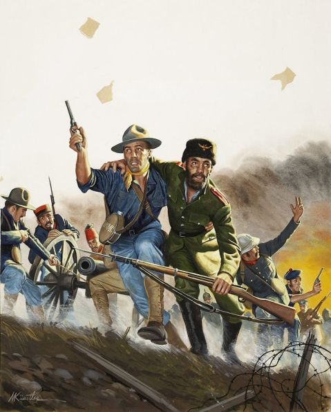 Mort Kunstler, The Stubborn Leatherneck Who Took China Wall, Men cover, March, 1960. Via Heritage Auctions http://fineart.ha.com/itm/illustration-art/mort-kunstler-american-b-1931-the-stubborn-leatherneck-who-took-china-wall-men-cover-march-1960/a/7001-87015.s