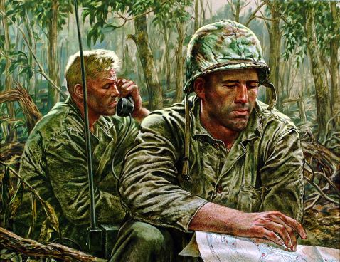 """""""THIS IS SAD SACK CALLING CHARLIE BLUE"""" """"We found the battalion commander [Lt Col Edward H. Hurst, CO, 3/7]. By him sat his radioman, trying to make contact with company commands. There was an infinitely tired and plaintive patience in the radioman's voice as he called code names, repeating time and time again, 'This is Sad Sack calling Charlie Blue. This is Sad Sack calling Charlie Blue.' """"Life Collection of Art WWII, U.S. Army Center of Military History, Fort Belvoir, Virginia."""