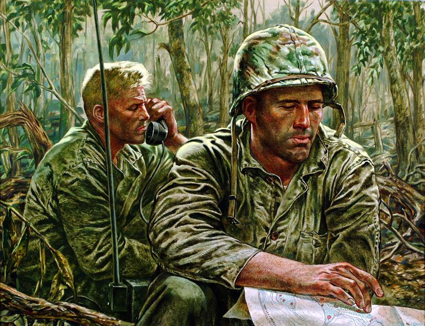 """THIS IS SAD SACK CALLING CHARLIE BLUE"" ""We found the battalion commander [Lt Col Edward H. Hurst, CO, 3/7]. By him sat his radioman, trying to make contact with company commands. There was an infinitely tired and plaintive patience in the radioman's voice as he called code names, repeating time and time again, 'This is Sad Sack calling Charlie Blue. This is Sad Sack calling Charlie Blue.' ""Life Collection of Art WWII, U.S. Army Center of Military History, Fort Belvoir, Virginia."