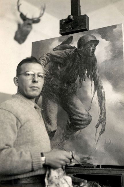 Tom Lea following his last wartime tour as a LIFE artist correspondent - landing on the island of Peleliu with the 1st battalion 7th Marines. On the easel is The Price, 1944.