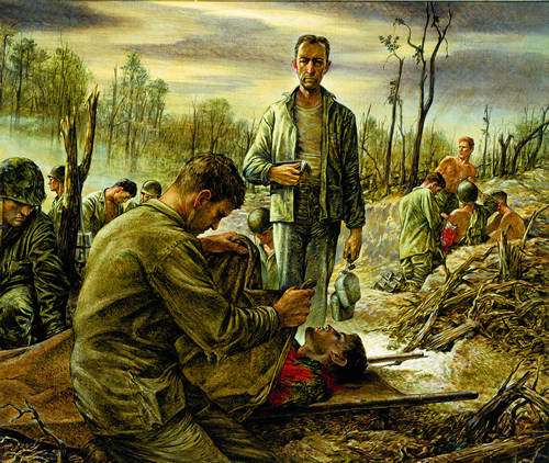 """SUNDOWN AT PELELIU"" ""Sick Bay in a Shellhole. The Padre Read, 'I am the resurrection and the Light' "" ""The padre stood by with two canteens and a Bible, helping. He was deeply moved by the patient suffering and death. He looked very lonely, very close to God, as he bent over the shattered men so far from home. Corpsmen put a poncho, a shirt, a rag, anything handy, over the grey faces of the dead and carried them to a line on the beach to await the digging of graves."" Life Collection of Art WWII, U.S. Army Center of Military History, Fort Belvoir, Virginia."