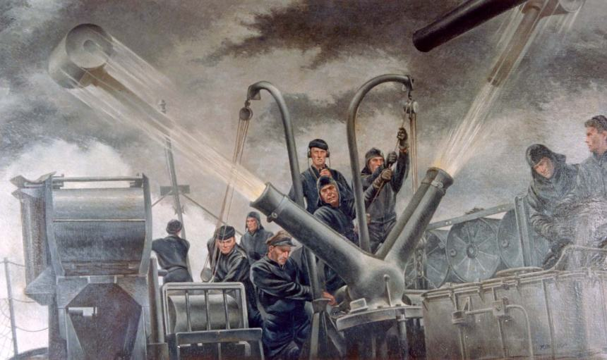 Tossing the cans, by Tom Lea, depicting the firing of a K gun depth charge thrower