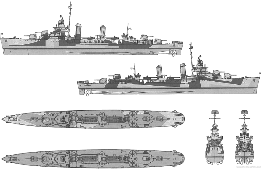 (Note, this is a late WWII Benson class with 4, 5-inch guns, Lafffey was completed with 5) click to big up