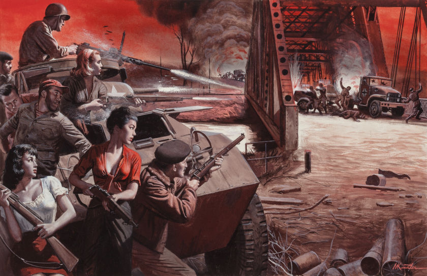 Mort Kunstler. Wipe Out the 11th Panzer Division, Stag magazine, True Books Bonus story illustration. Via Heritage Auction http://fineart.ha.com/itm/illustration-art/mort-kunstler-american-b-1931-wipe-out-the-11th-panzer-division-stag-magazine-true-books-bonus-story-illu/a/5185-72172.s