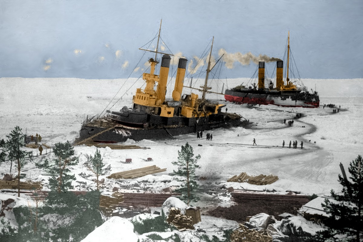 Yermack was the first polar icebreaker in the world, colorized photo of it assisting the Graf Apraksin in 1899.