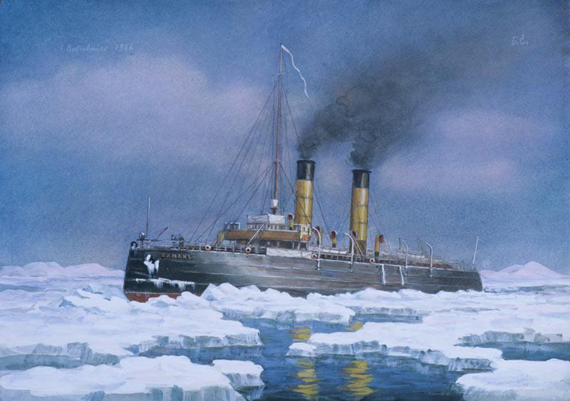 Icebreaker Yermak by noted Soviet maritime artist Eugene Voishvillo