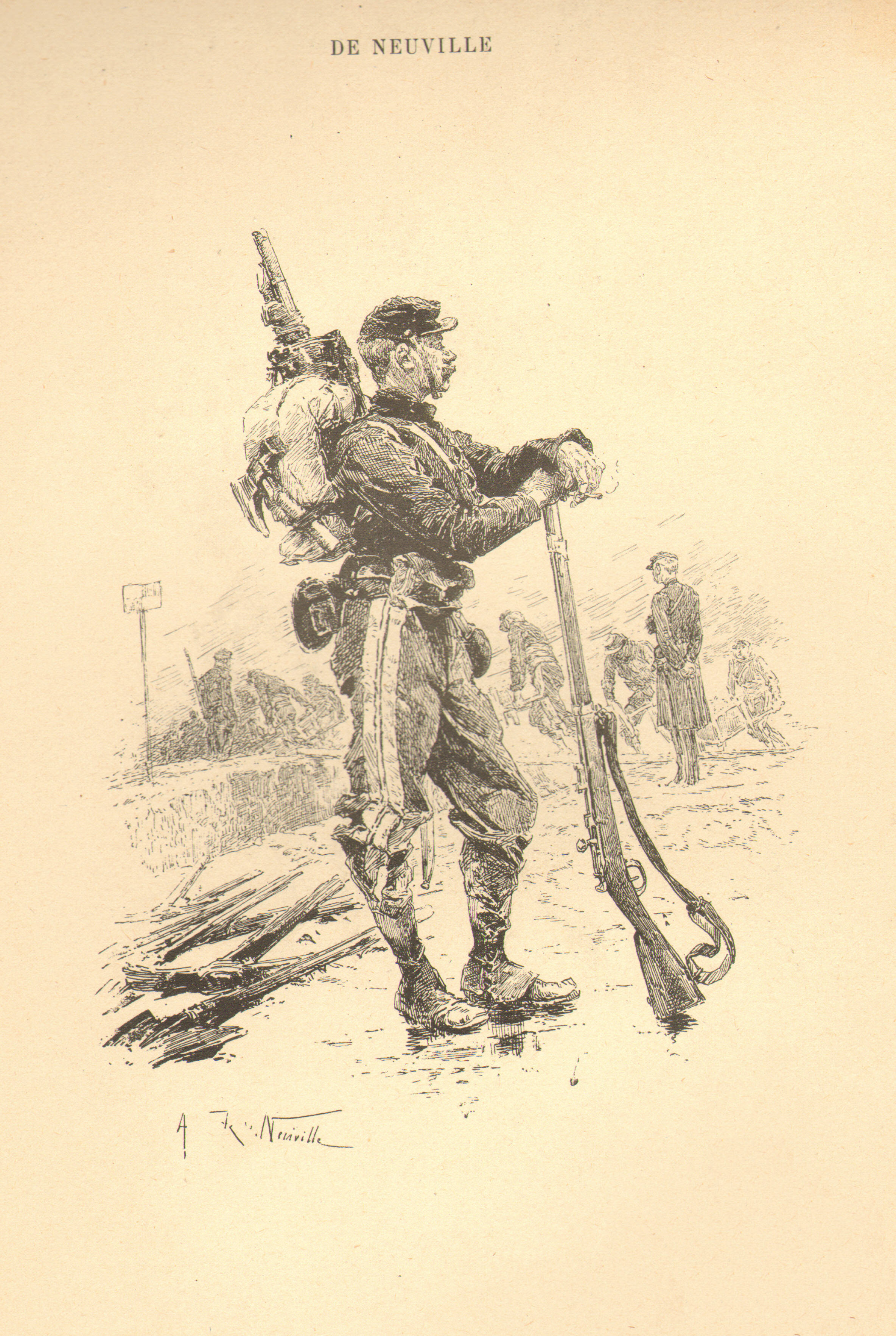 A French Military Engineer by Alphonse Marie Adolphe de Neuville pencil