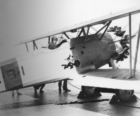 Charles Lindbergh in the cockpit of a F3B-1 carrier aircraft aboard USS Saratoga, 8 Feb 1929