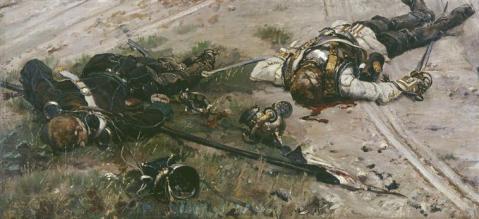 """""""Uhlan et cuirassier de la brigade Von Bredow, morts, """" Showing a Dead Prussian Uhlan and Cuirassier, Franco-Prussian war. On exhibit at the Musée des Invalides, Paris."""