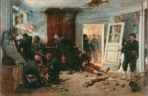 """The Last Cartridges"" by Alphonse-Marie-Adolphe de Neuville note zouave and shattered rifle"