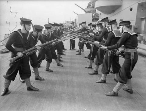 Sailors conducting bayonet drill aboard HMS Rodney, circa 1940. Dig the SMLEs