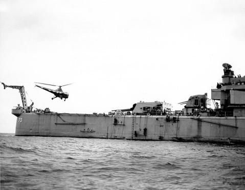 HO3S-1 helicopter landing on USS Saint Paul off Wonsan, Kangwon Province, Korea, 17 Apr 1951