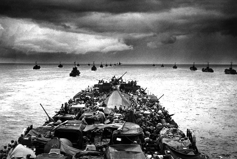 LCI landing craft in the wake of a USCG-manned LST en route to Cape Sansapor, New Guinea, mid-1944