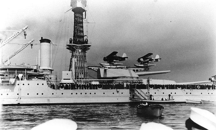 Liberty party from battleship California prepared to go ashore, 1940; note SOC-3 floatplanes