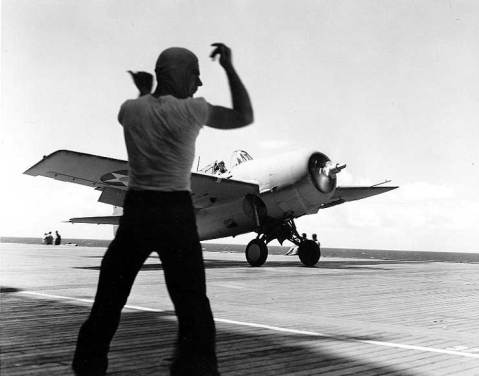 Ever heard of the Thatch Weave? Lt. John Thach's Wildcat taking off from Saratoga, Oct 1941 Source United States National Archives Identification Code 80-PR-1154