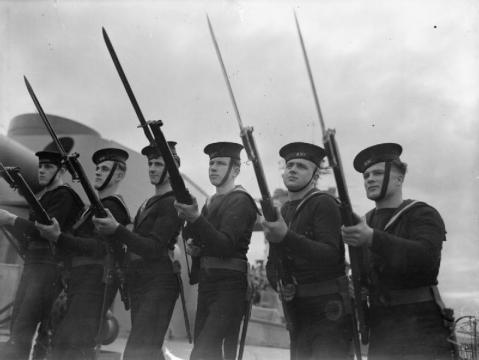 Sailors conducting bayonet drill aboard HMS Rodney, circa 1940