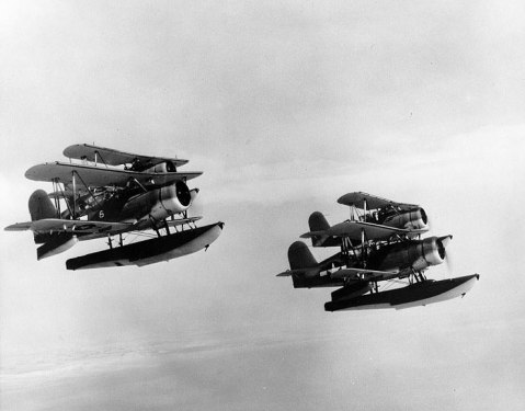 SOC-3 Seagull aircraft from cruiser Portland flying in a formation of four, circa 1944, note the wartime scheme United States Navy Naval History and Heritage Command photo NH 81995