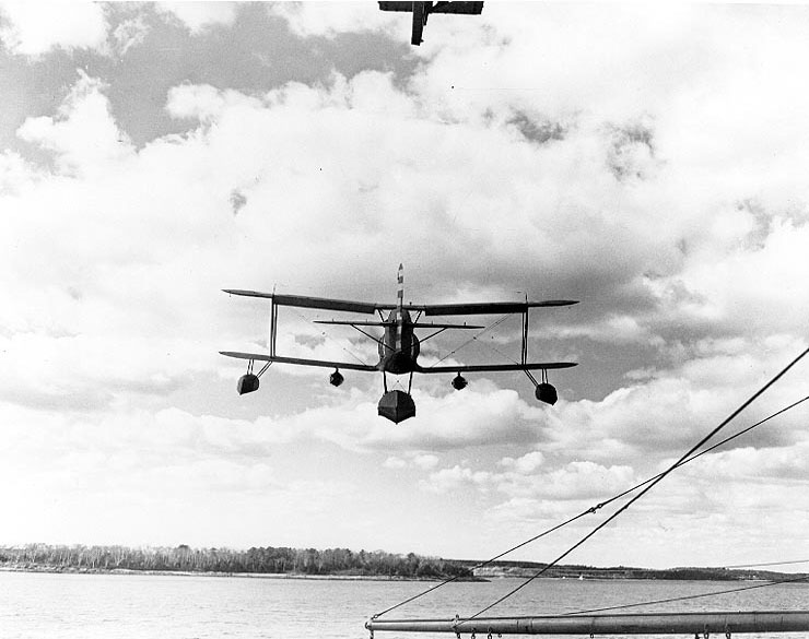 SOC Seagull aircraft just launched from Augusta's catapult, Casco Bay, Maine, United States, Jun 1942