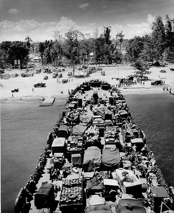 United States Coast Guard-manned LST beaching at Cape Gloucester, New Britain, Bismarck Islands, Dec 1943