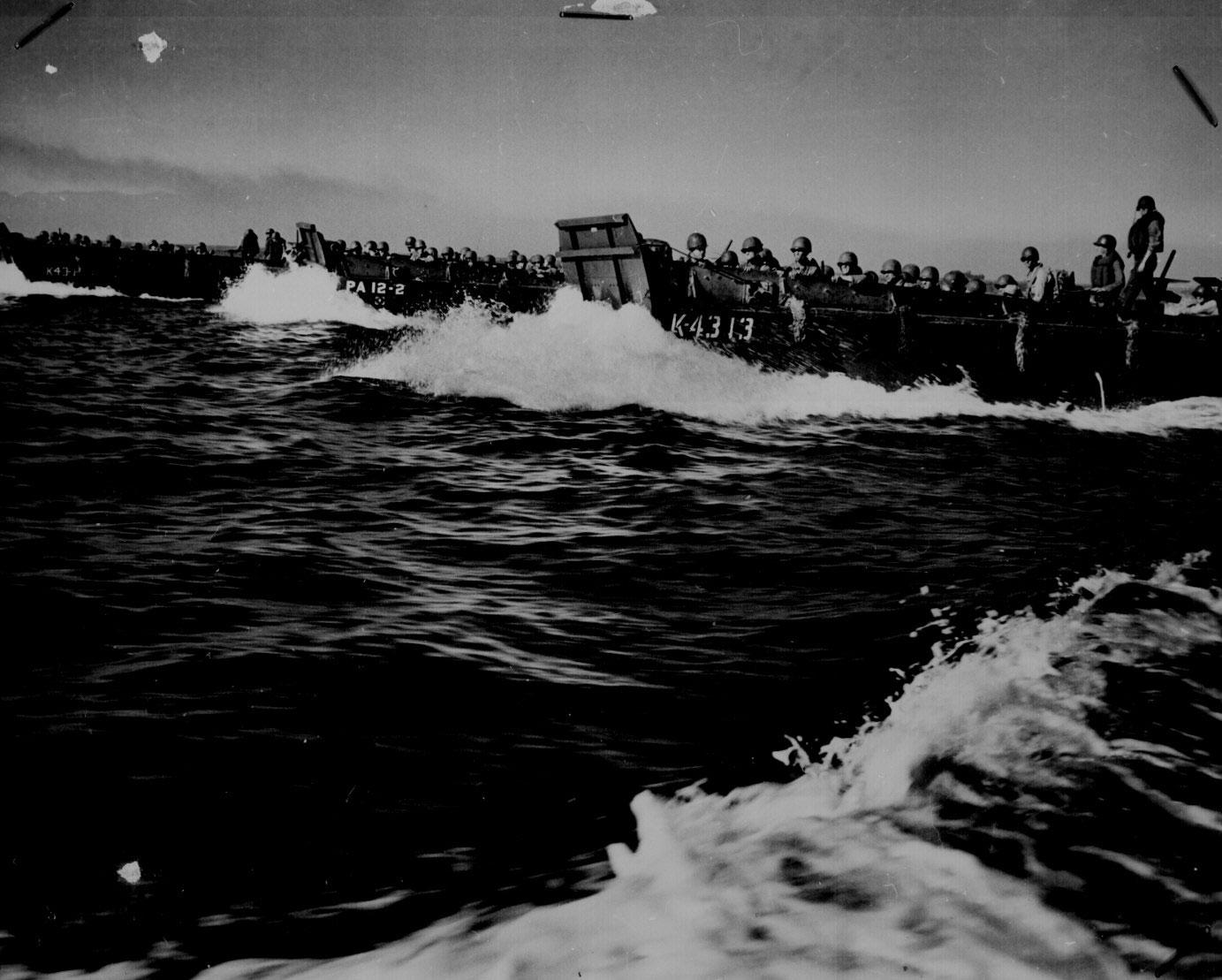 US Coast Guard LCVP landing craft carried invasion troops toward Luzon in Lingayen Gulf, 9 Jan 1945