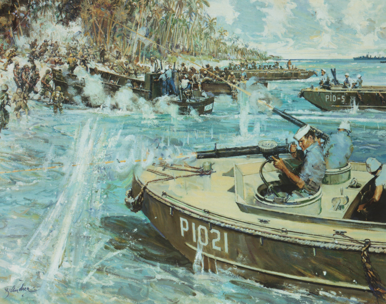 Douglas A. Munro Covers the Withdrawal of the 7th Marines at Guadalcanal by Bernard D'Andrea. Click to big up. Note the Lewis guns